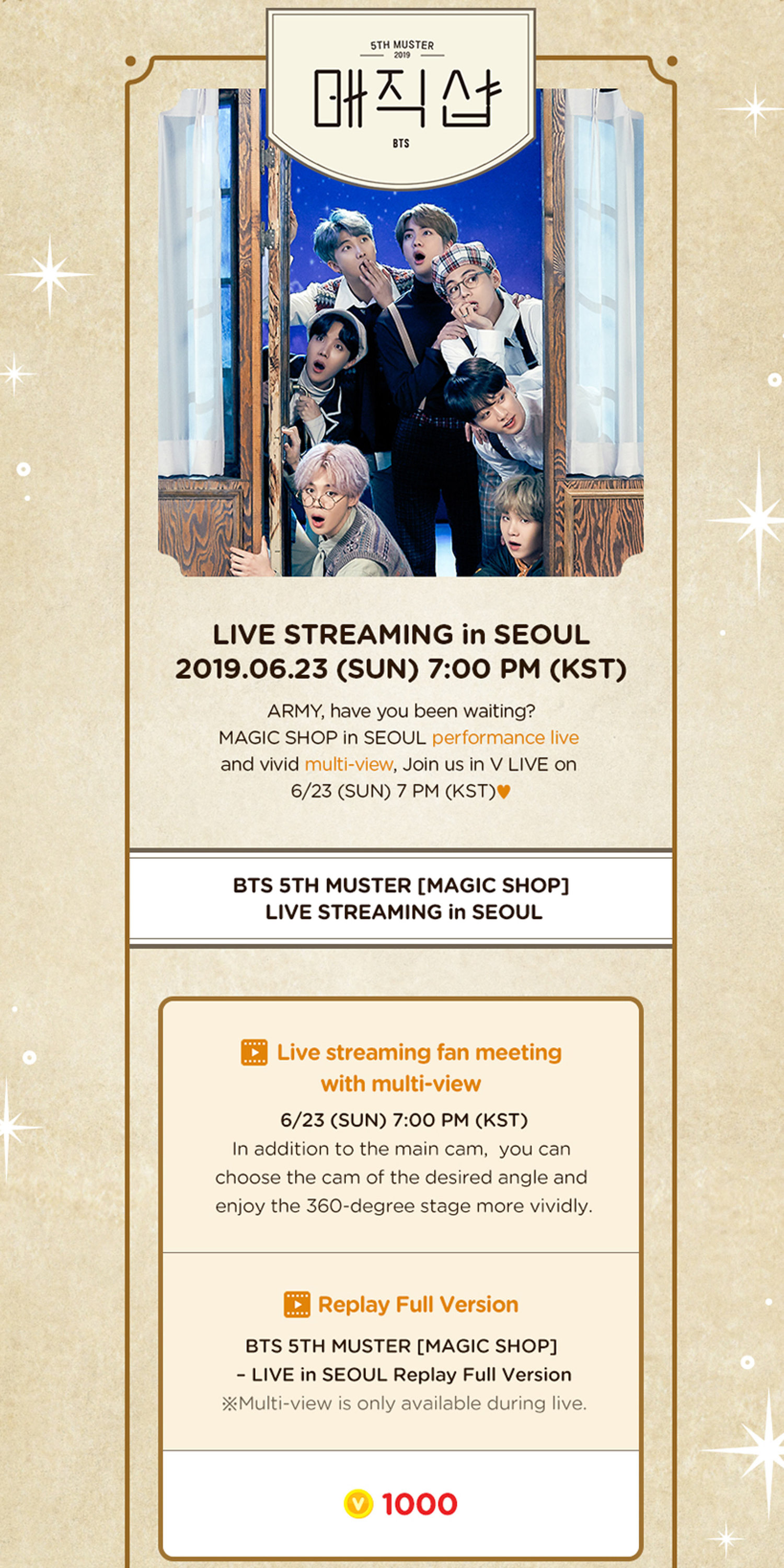 VLIVE+] BTS 5th MUSTER [MAGIC SHOP] LIVE STREAMING — US BTS ARMY
