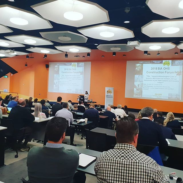 """*Industrial Manslaughter - OHS Construction Forum 2018* """"Industrial Manslaughter Laws in Victoria - Will it save our workers, kill our businesses or just make lawyers and insurers richer?""""Certex's iSuite Program was pleased to be present at this year's Safety Institute of Australia OHS Construction Forum on the topic of Industrial Manslaughter. A range of presenters spoke on the different facets of the proposed #industrialmanslaughter #laws for Victoria. Thanks to MD, Dianne Gibert, and Service Manager, Alicja Gardini, for representing Certex at this event!"""