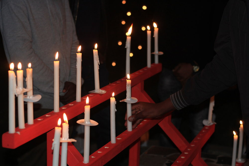 Candles lit during our World AIDS Day event in 2018.