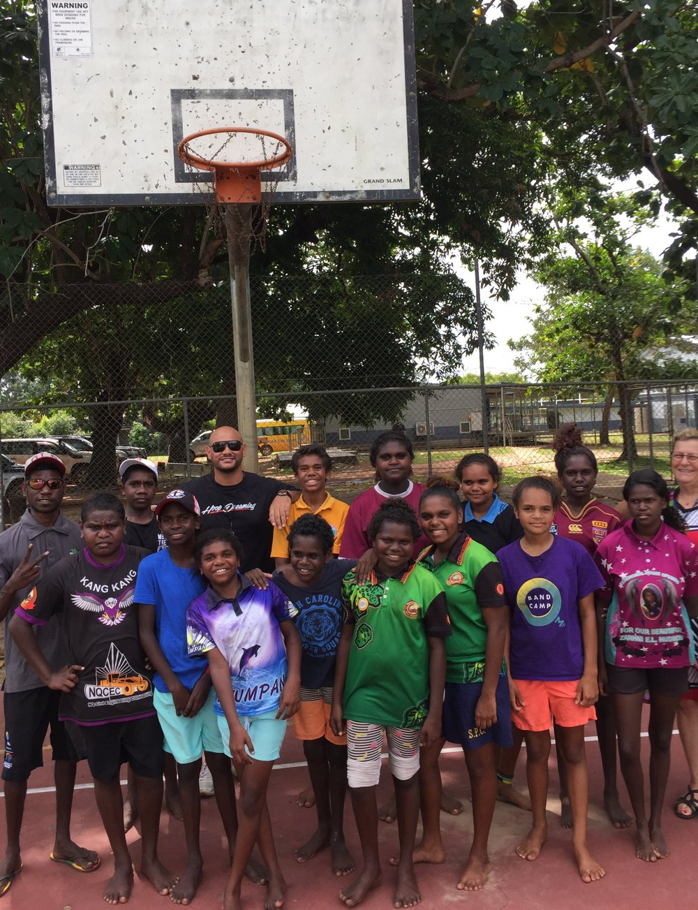HDM founder Joel Khalu with secondary school students from Aurukun State School. Picture: Josh Mene