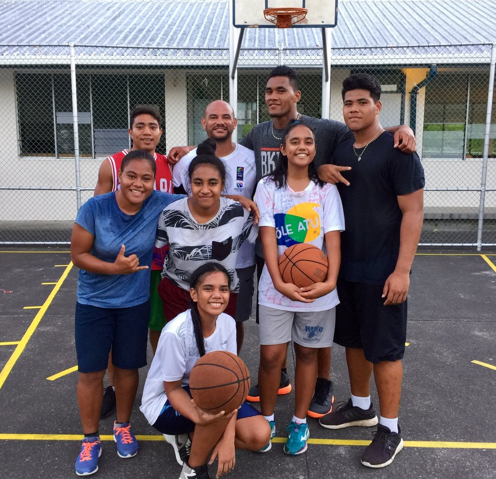 Joel Khalu with a group of Samoan junior players. Picture: Provided