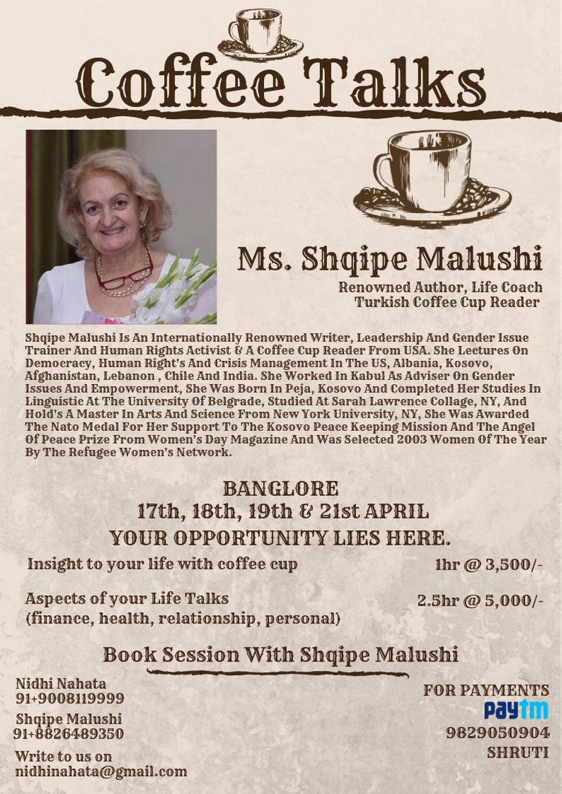 Shqipe Malushi Is An Internationally Renowned Writer, Leadership And Gender Issue Trainer And Human Rights Activist & A Coffee Cup Reader From USA. She Lectures On Democracy, Human Right's And Crisis Management In Th.png