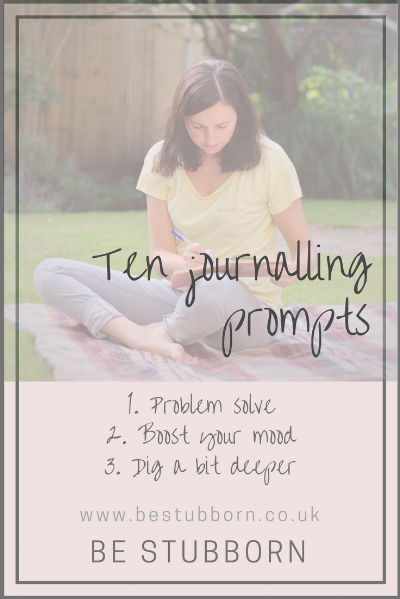 Graphic about ten free journalling prompts