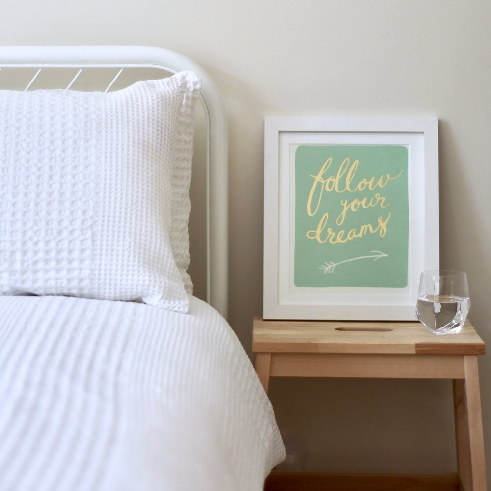 Follow your dreams quote in white frame | Joanne Becker | Be Stubborn | Coaching | small business, creative coaching, resources, content creator