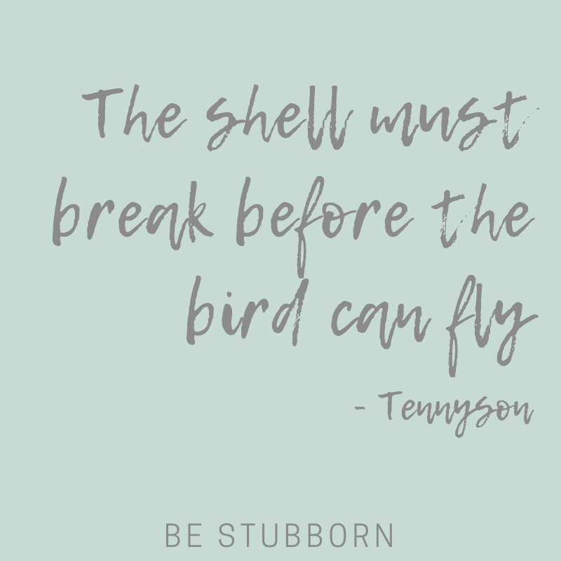 The shell must break before the bird can fly, quote, Tennyson   Joanne Becker   Be Stubborn   Coaching   small business, creative coaching, resources, content creator