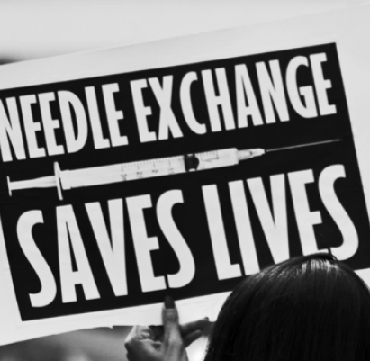 """Needle Exchange Saves Lives"" Placard"