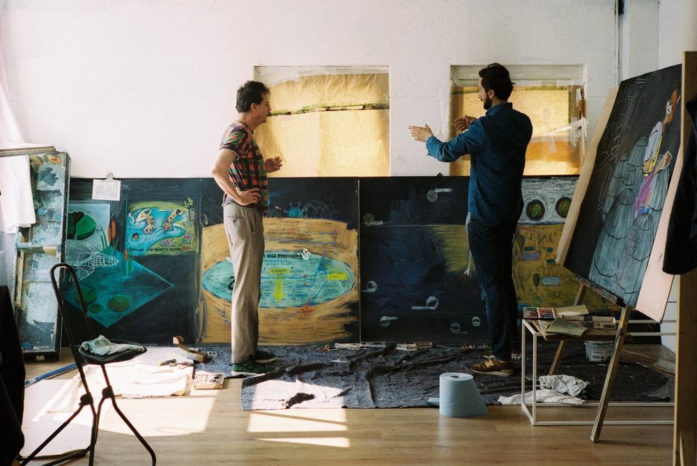 Work in progress from Lado's  The Walking History Corridor, with lead curator Jan van Esch    © Juan Aguirre Fernández-Bravo