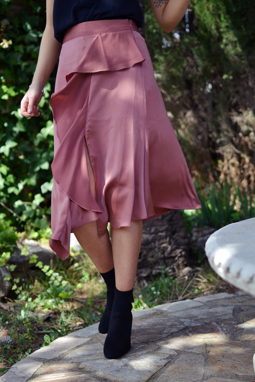 Pink midi wrap skirt