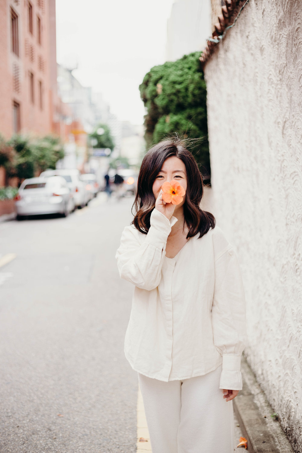 The Most Worn Item in My Wardrobe | On the Street Where We Live ( aretherelilactrees.com )  MANGO, neutrals, summer style, Seoul, orange flowers