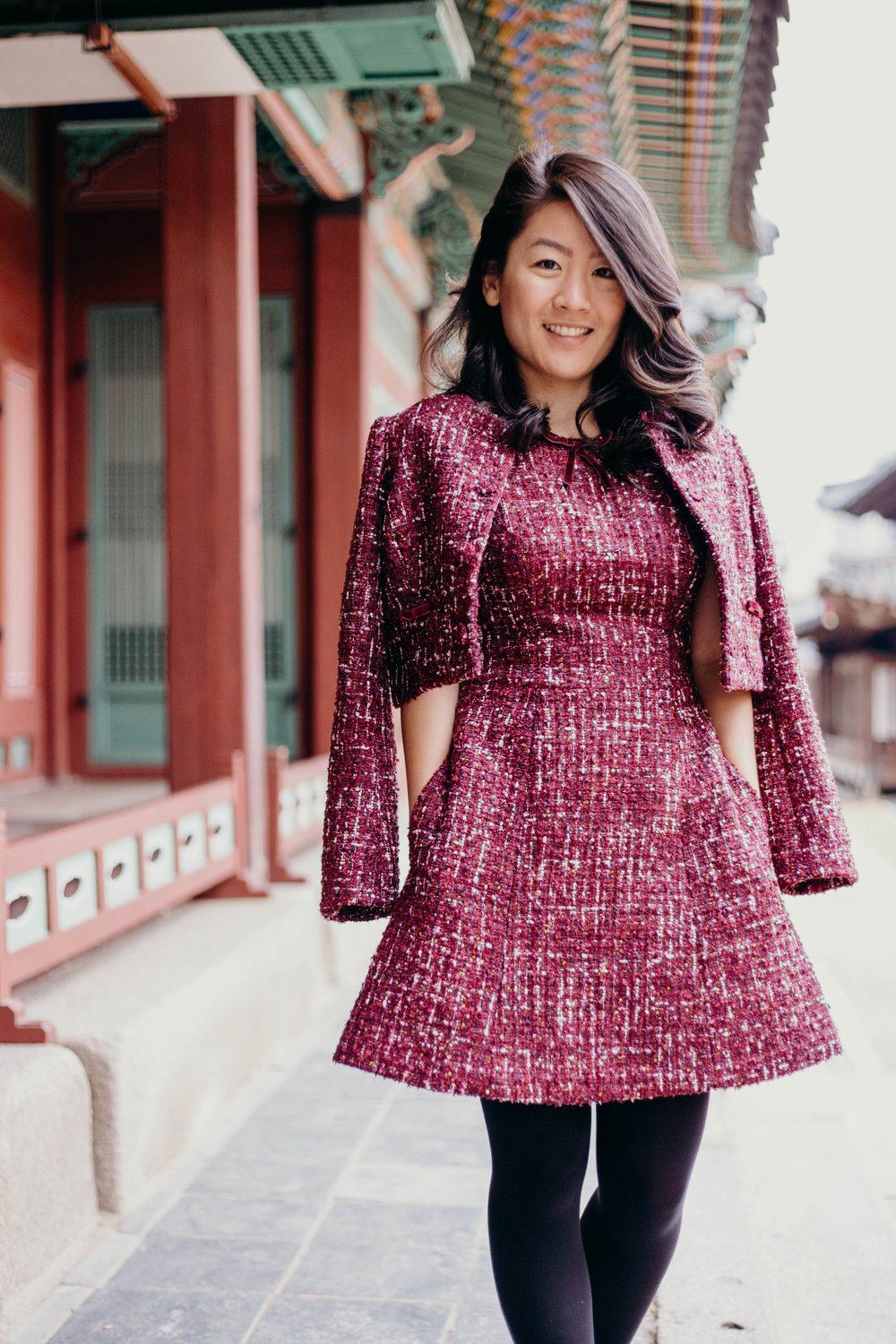 Why Representation Matters in the Blogosphere: Here Are Some Bloggers of Color You Should Read | On the Street Where We Live (aretherelilactrees.com)  Gal Meets Glam Collection, Nell dress, Nell jacket, tweed, tweed set, Deoksugung, Seoul, South Korea