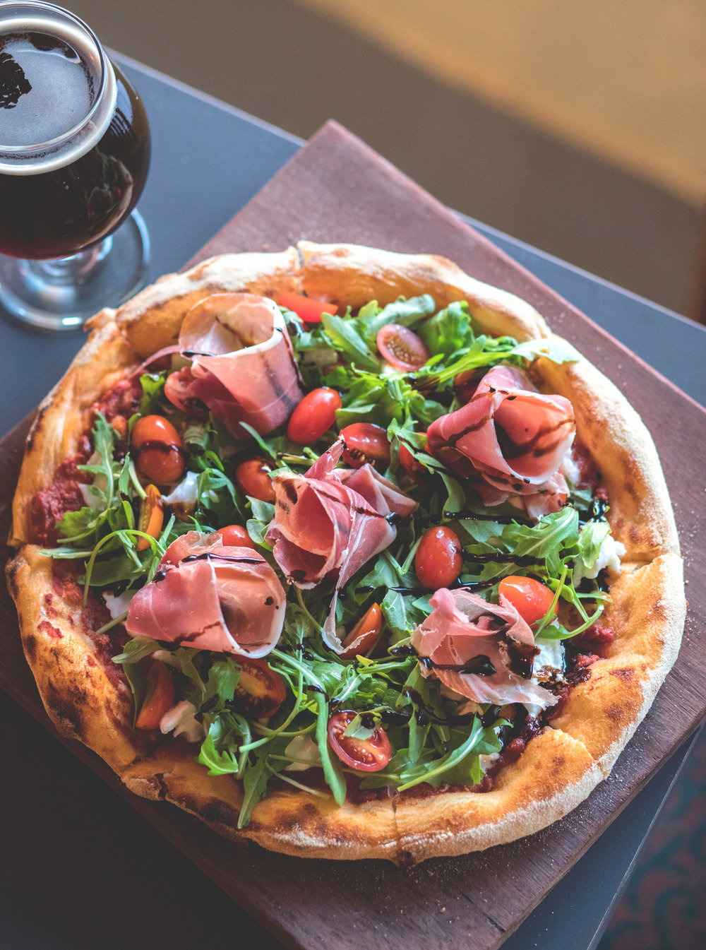 Buffalo Pizza with Proschiutto & Oaked Baltic Porter -