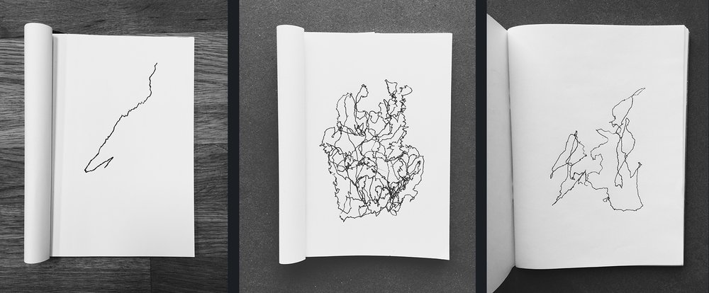 Motion sketches from a train ride in Japan, a van ride in Nigeria, a car ride in Iceland. All by Lauren Celenza.
