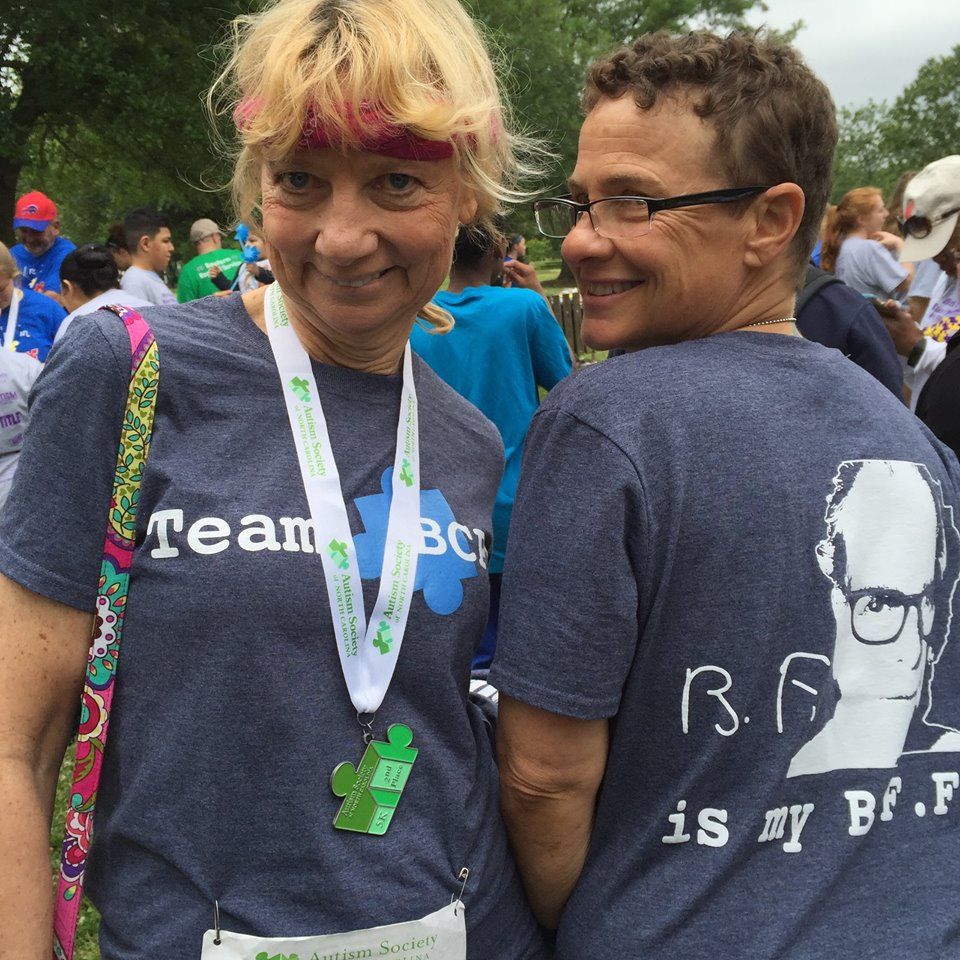 Jeannie golden and Lori stuart (yep, that's a medal from the 2017 autism run- way to go, jeannie!)