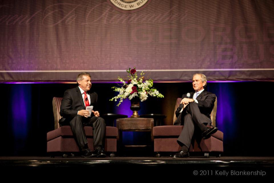 George W. Bush being interviewed by Drew Sherman of Compass Christian Church, Dallas, TX