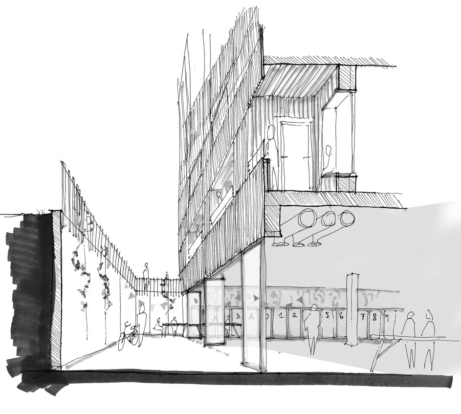 Hallen  En gemensam yta för delad mobilitet samt generösa ytor för boende att nyttja.