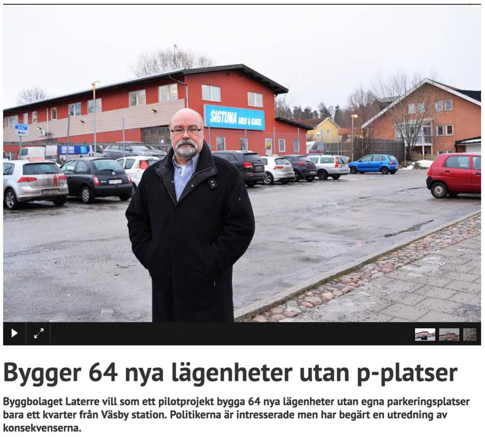 Artikel i Stockholm Direkt - 2017.01.28 Stockholm Direkt Bygger 64 nya lägenheter utan p-platser