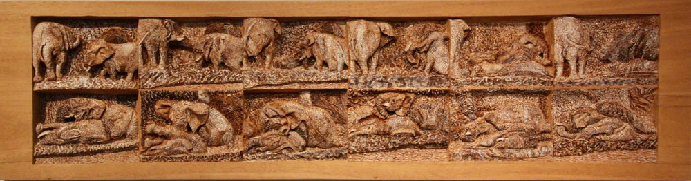 "Elephant Watering Hole, Mahogany, burned and painted, 13"" x 47"" x 2"", 2018"
