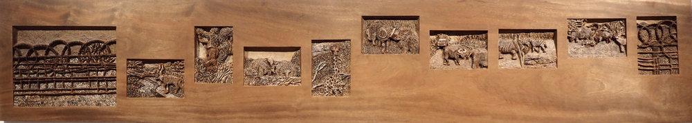 "Safari, Mahogany,  burned and painted, 13"" x 72"" x 1"", 2018"