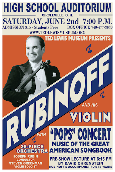 Don't forget to buy your tickets for our Rubinoff and His Violin Concert on June 2nd!