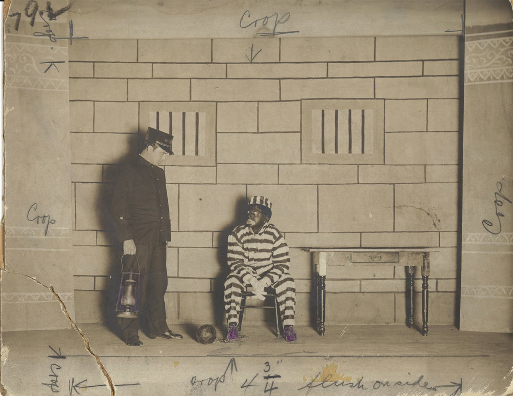 "Edgar and Ted Friedman in ""The Warden and the Jailbird Coon"", 1909"
