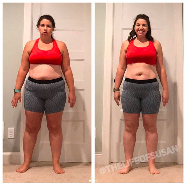 "I finished up my 4th round of The Faster Way to Fat Loss this week and once again I'm blown away by my results. These photos show the difference from when I started this program last August to today. 35lbs and 37.75"" lost. As a mom to a 1 & 3 yo I know how much we put ourselves on the back burner and don't prioritize ourselves. It's hard in this season of life. Trust me, I get it. Being able to do something for myself has been such a gift. I'm grateful for this amazing body that has carried and birthed 2 amazing (and huge) babies and that they get to see their mom happy and healthy. And let me remind you, I've done all of this by working out in my living room and eating real food (and yes, even pizza and CFA cause a girl has to live). My next round starts March 26 and I think my hubby is even gonna try out the men's program because he's been so impressed by my results. I'd love for you to join me!  Susan"