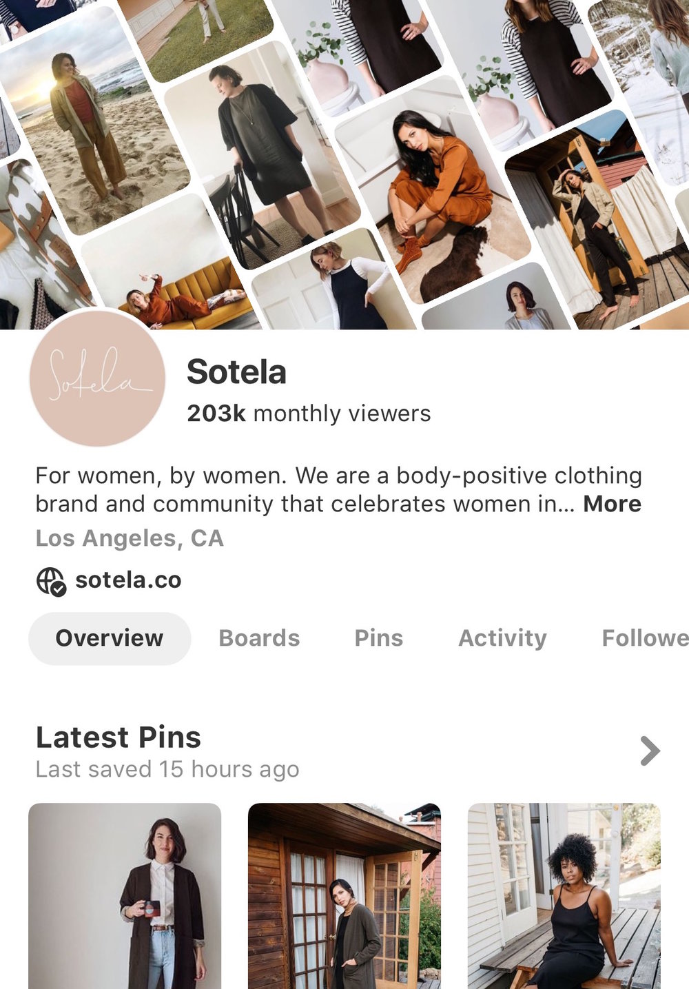sotela pinterest - Sotela, a body-postive clothing brand for the everyday woman, already had a pretty great Pinterest audience. We were able put strategy behind their great content, and grow their Pinterest audience by 900% in 5 months.21,000 - 203,000 viewers in 5 months