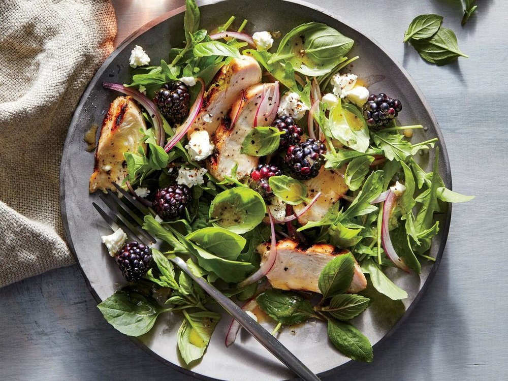 Basil Blackberry grilled chicken salad -  Lettuce know what you think of the division dietitian's pick for the week of May 28! Check out this beautiful salad from Cooking Light.