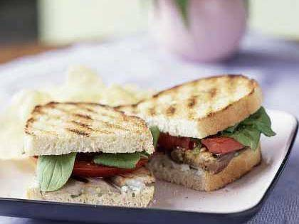Grilled Eggplant & Tomato sandwiches w/ roquefort dressing - This eggplant sandwich recipe is aubergenius! Another division dietitian pick from Cooking Light.