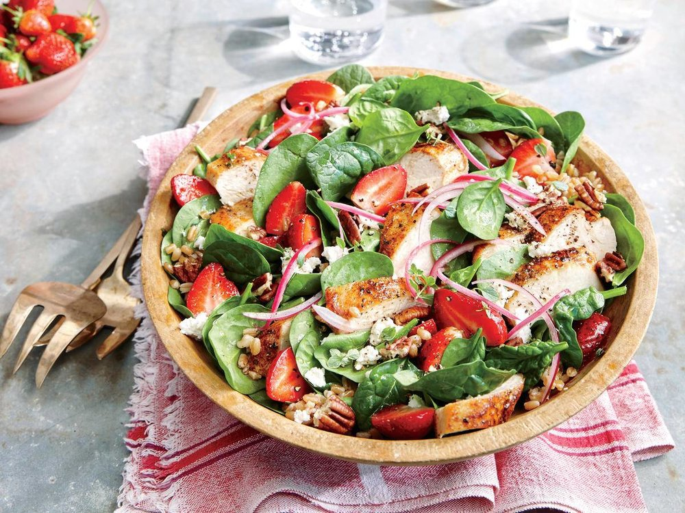 Strawberry-Chicken Salad with Pecans - This main-dish salad features juicy strawberries at their seasonal peak.