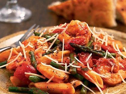 Shrimp & Asparagus Penne Pasta -