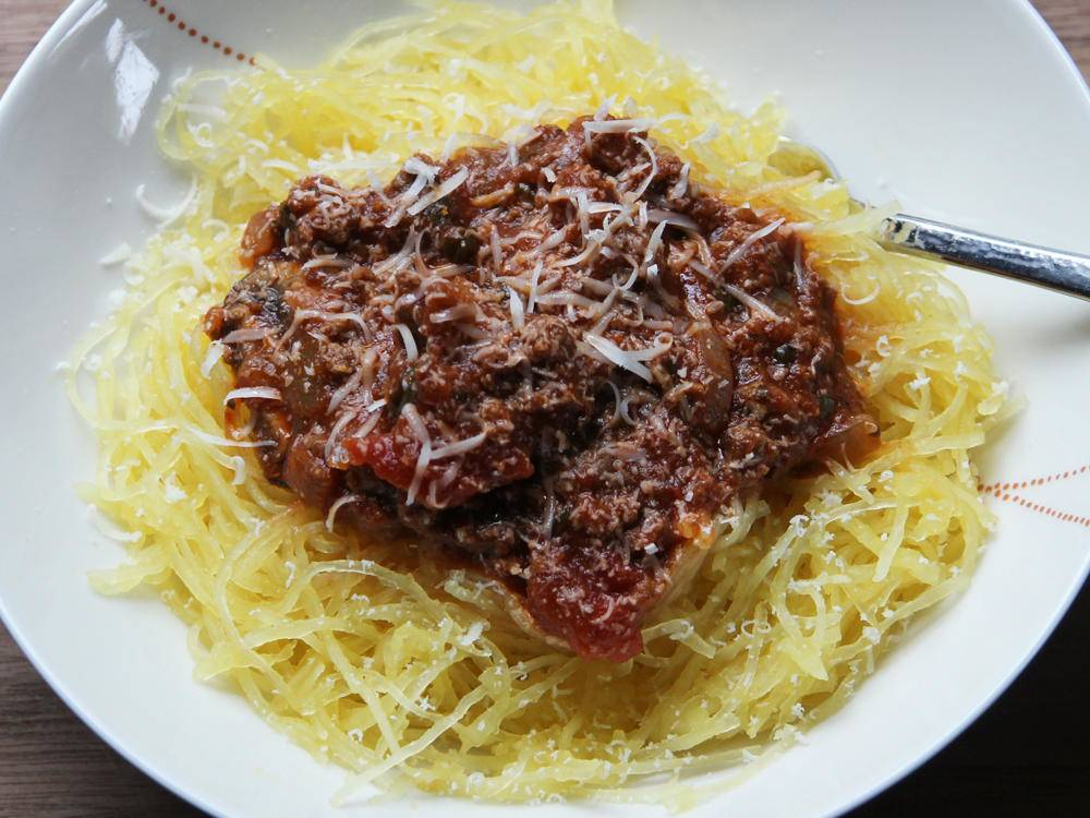 Spaghetti Squash with Meat Sauce -