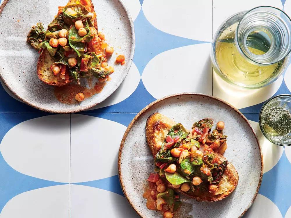 Stewed Chickpeas and Chard over Garlic Toast -
