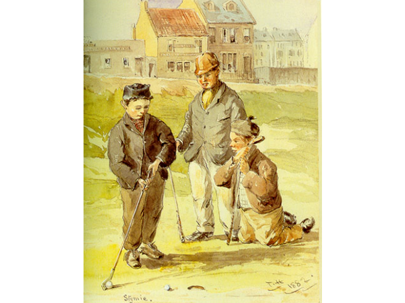 Children playing golf in 1882 at St. Andrews, Scotland.  Image Source:  Wikimedia Commons  /  Stymie, by Thomas Hodge