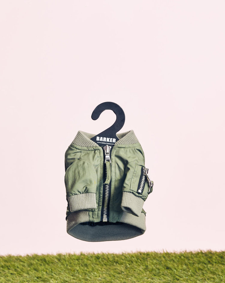 BARKER - PILOT JUMPER - Evening walk getting a little chilly? Slide your babe into this military inspired jumper, side snap button pockets and zipper arm pocket included.