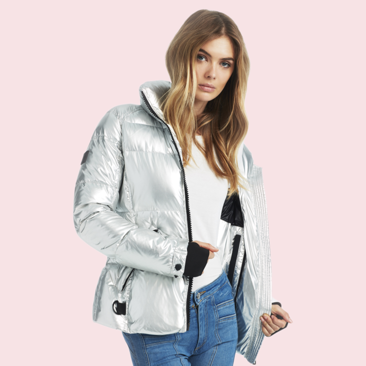 SAM. - FREESTYLE BOMBER - Chic, shimmer, we got you no matter where you're off to. This down-filled fall and winter wardrobe essential is the perfect piece. Jersey cuffs, thumbholes, did we say thumbholes?