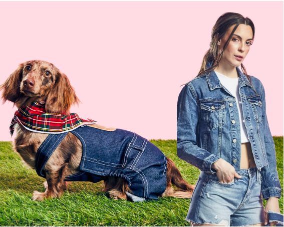 Farmer and Farm Dog - Everyone knows there's no finer pair than a hardworking farmer and his loveable farm dog! This easy costume can be pulled off by anyone and anypup! Grunge it up in double denim with the GRLFRND CARA CROPPED TRUCKER JACKET (might we add that it's on sale!?). Your furry friend will look ADORABLE in the  DENIM OVERALLS by CHARLIE'S BACKYARD. Together, you two will be the talk of the county fair! Pair with a plaid shirt, bandana and a straw hat and hit the fields!