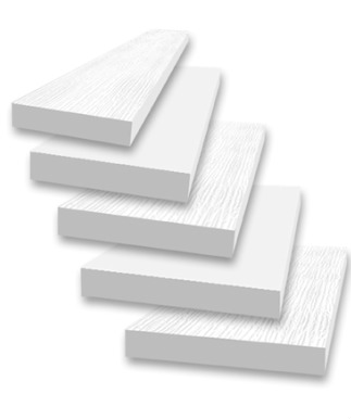 PVC Boards & Sheets - S4S Boards:1 x 4 | 1 x 6 | 1 x 8 | 1 x 10 | 1 x 125/4 x 4 | 5/4 x 6 | 5/4 x 8 | 5/4 x 10 | 5/4 x 12E2E Boards:1 x 4 | 1 x 6 | 1 x 84' x 8' Reversible or Smooth Sheets:3/8