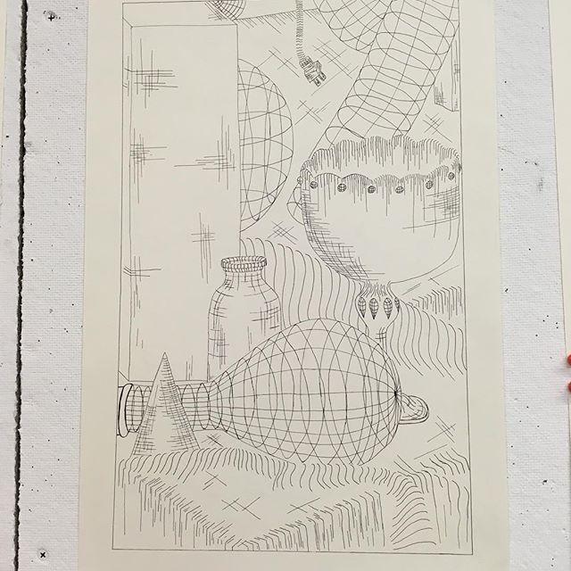 "Cross Contour Study  Ink pen on paper  17"" x 11"""