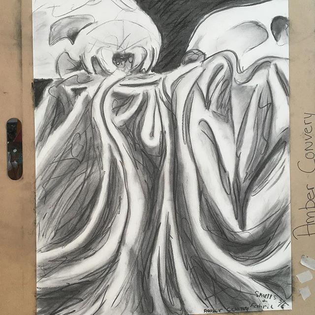 """Skulls and Fabric Study  Charcoal on Newsprint  18"""" x 24"""""""