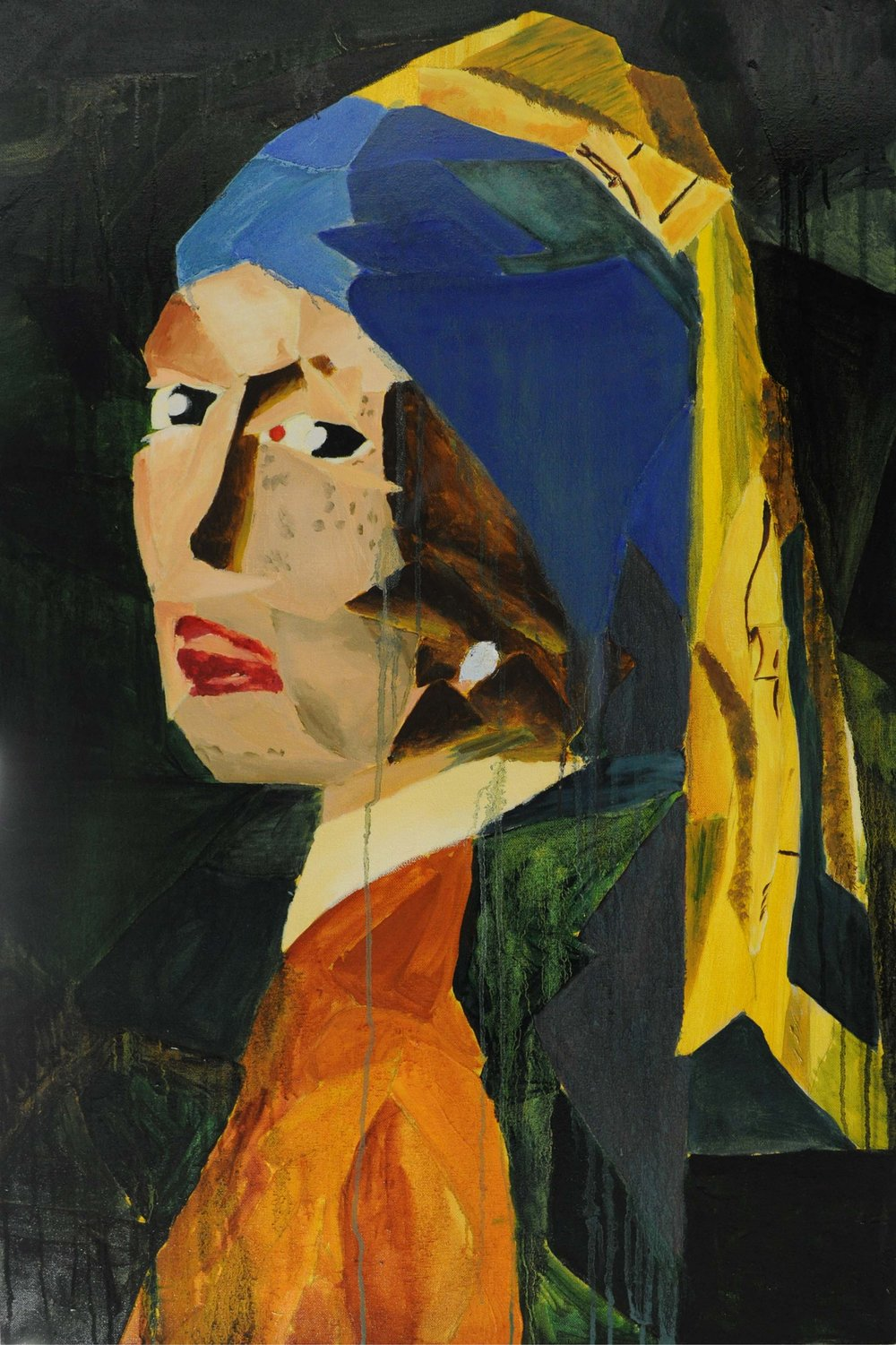 The Lady with the Pearl Earring and Liver Cancer  Oil on Canvas  24 inches x 36 inches