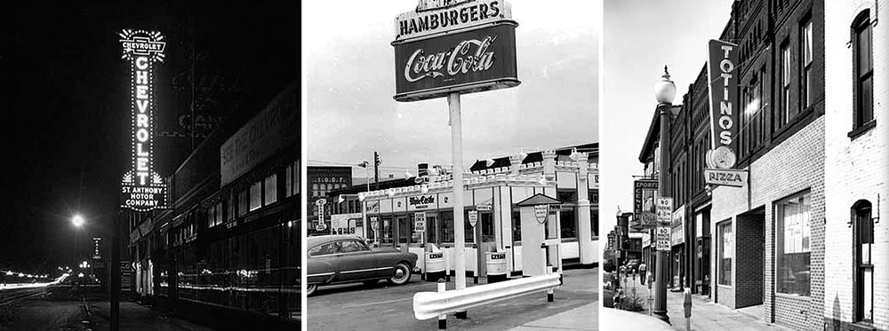 Historic images of businesses on Central Avenue in the 1930s and 1940s.
