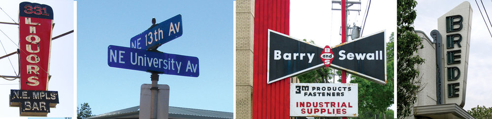 Signs from different eras on 13th Avenue and in the neighborhood provided inspiration for the logo