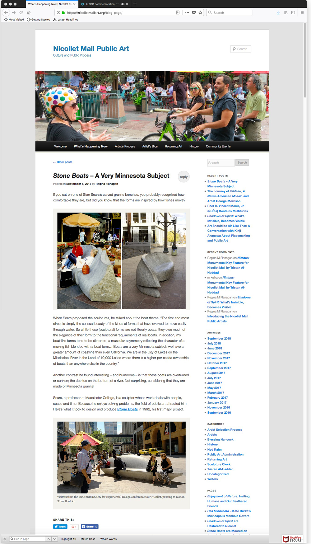 Nicolletmallart.org Blog page