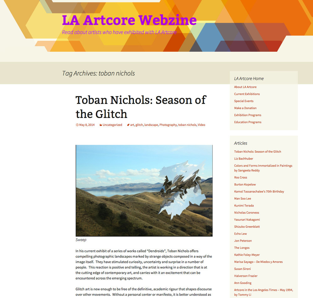 Review.  LA Artcore Webzine . 2014.