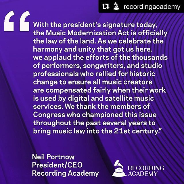 The MMA act passed today. It has been a long and winding road with many setbacks and surprising foes who at one time were regarded as friends and colleagues. Many thanks to all the songwriters who, for years, made the arduous trip to Washington to lobby for the songwriter. Many thanks to NSAI colleagues Bart Herbison, Lee Thomas Miller and Steve Bogard for giving their hearts and souls to this Herculean task. That's one for the little guys (us), and Zip for the Corporate Gods Of Greed. (You know who you are.) #Repost @recordingacademy with @get_repost ・・・ Today we celebrate the harmony and unity that got us here. The #MusicModernizationAct is officially the law of the land!