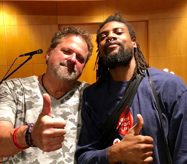 "Operation Song  helps Veterans reconnect after being deployed and developing problems like PTSD etc. Levin is pictured with me after writing and performing our song ""Goin Down""."