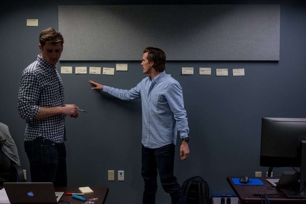 January 2017 - Conor and Zack brainstorming ideas for the narrative of the film.
