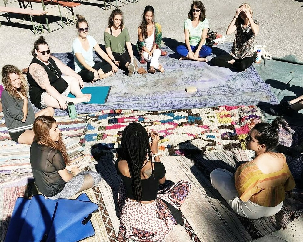 Pictured: Melanie facilitating a guided meditation for BossBabes' Rest, Resist, Repeat Event at Space24Twenty (Austin, Texas)