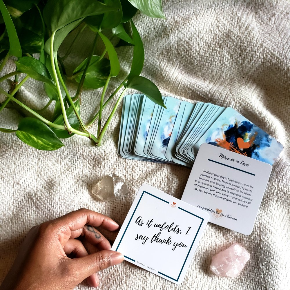 The quotes, insights + affirmations in this deck are my offering to your personal + spiritual growth journey. May they allow you moments of silence, stillness, introspection and self awareness to evoke intentional perspective shifts that will allow you to deeply root into this human experience + grow more space, for healing