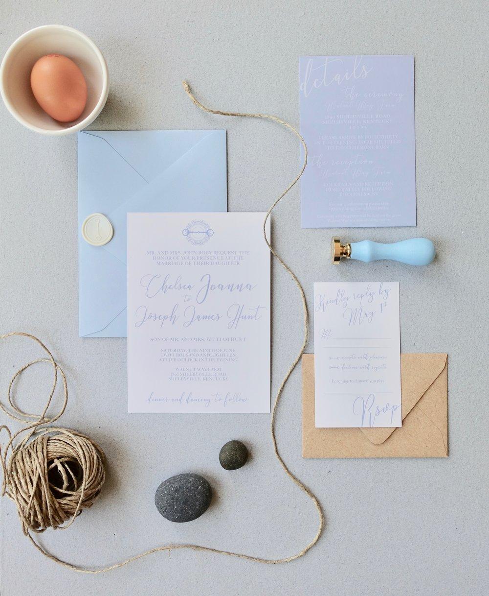 Barn theme wedding invitation suite